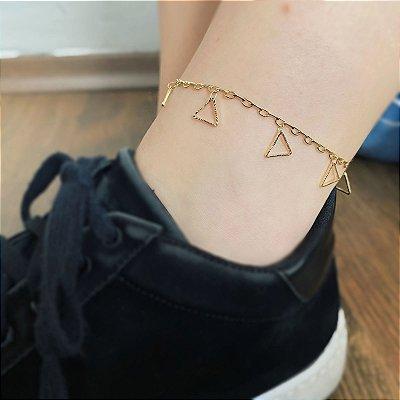 Tornozeleira Triângulos Vazados Banhada a Ouro 18k