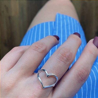 Anel de Prata 925 Coração Vazado Curvado