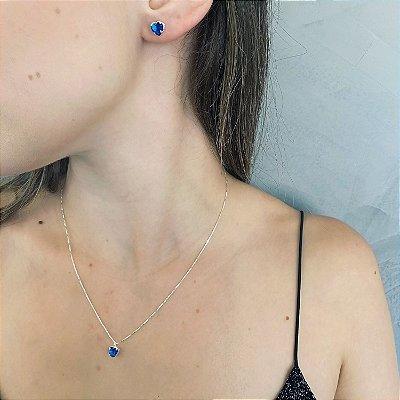 Conjunto Prata 925 Coração Zircônia Azul Escuro