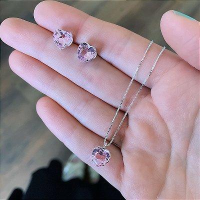 Conjunto Colar e Brinco de Prata 925 Coração Zircônia Rosa