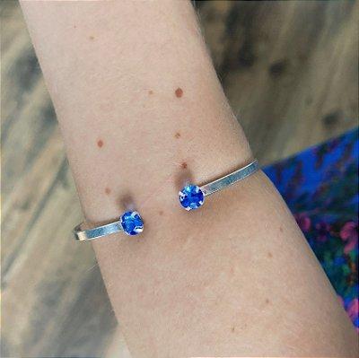 Bracelete de Prata 925 com Zircônia Azul Escuro