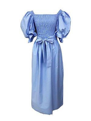 Vestido Tricoline Liso Corpo em Elastex Manga Bufante