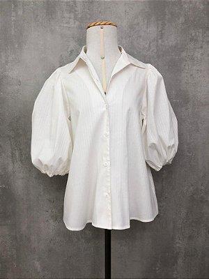 Camisa de Tricoline Manga Bufante