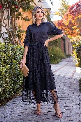Vestido Longo Tule com Tricoline