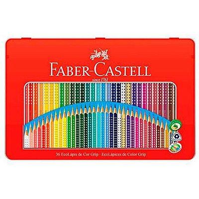 Lápis de cor Colour Grip 36 cores lata grip 121036LT Faber-Castell