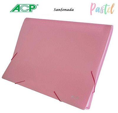 Pasta Sanfonada A4 12 Div 1727 Rosa Pastel Acp
