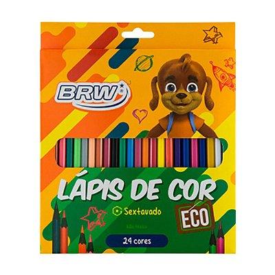 Lápis de Cor 24 Cores Sextavado Eco - BRW- LP2403
