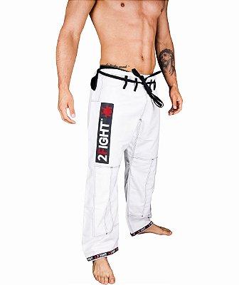 Calças BJJ de BRIM cor branco - linha SUPER com contraste preto