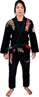 Kimono BJJ - ESPIRITO FEMININO/FLOR HELICÔNIA cor Preto