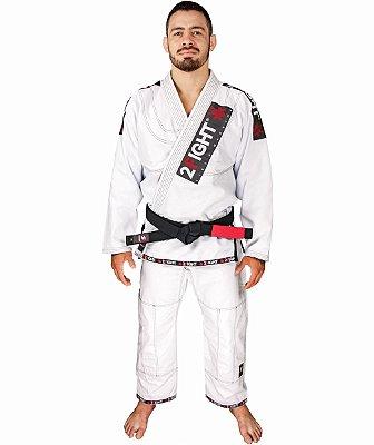 Kimono BJJ - linha SUPER cor Branco com contraste preto