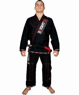 Kimono BJJ - linha SUPER cor Preto com contraste vermelho
