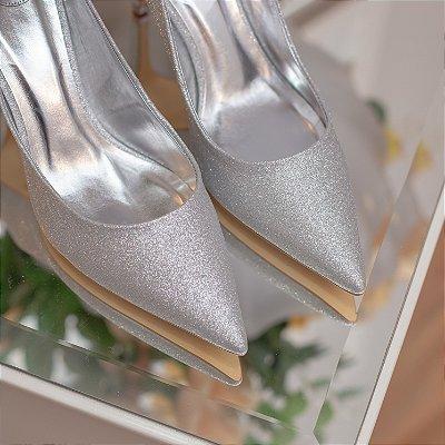 Scarpin gliter prata