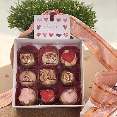 Caixa de doces 9 doces decorados (te amo)