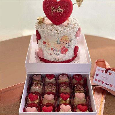 Kit Mini Bolo Cupido 10 cm + 16 doces