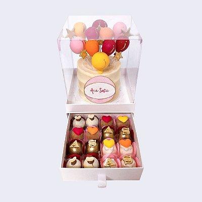 Mini bolo Balões 10cm  + 16 doces