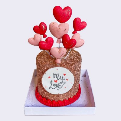 Mini bolo Corações 8cm