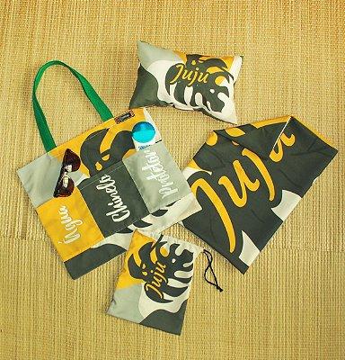 Kit Praia Personalizado - Canga + Ecobag + Travesseiro + Saquinho