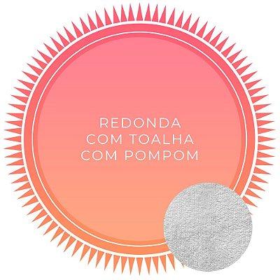 Canga de Praia Personalizada Dupla Face Redonda com pompom - Tecido 100% Viscose