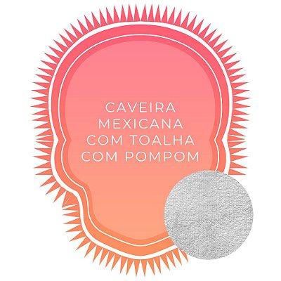 Canga de Praia Personalizada Dupla Face Caveira com pompom