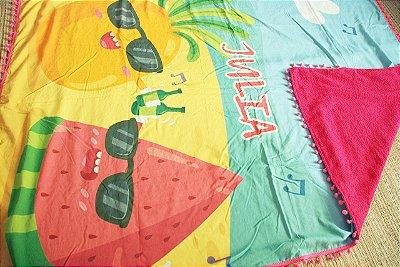 Canga de Praia Infantil Personalizada Dupla Face com pompom - Tecido 100% Viscose