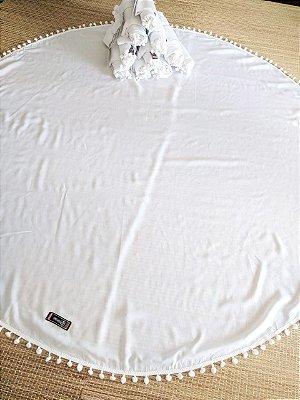 Canga redonda branca - 100% Viscose - para Tie Dye