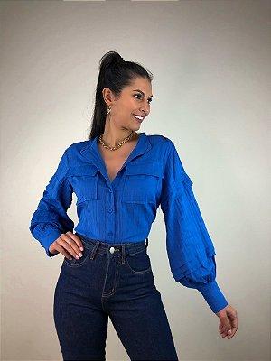 Camisa Manga Bufante Punho Isa Baldo Azul