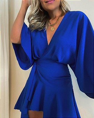 Vestido Amarração Isa Baldo Azul Royal
