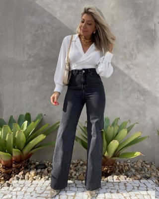 Calça Wide Leg Jeans Isa Baldo Preta