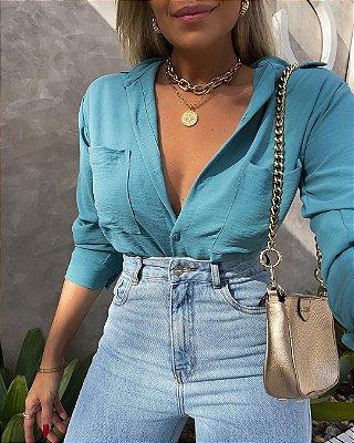 Camisa Isa Baldo Azul