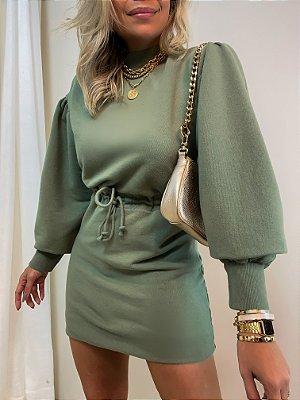 Vestido Curto Moletom Isa Baldo Verde