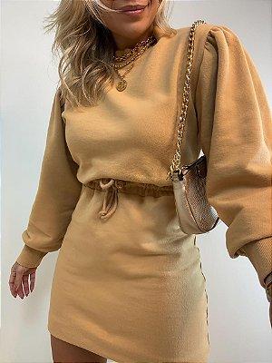 Vestido Curto Moletom Isa Baldo Camel