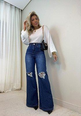 Calça Wide Leg Jeans Isa Baldo
