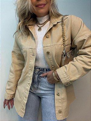 Camisa Casaco Jeans Bege