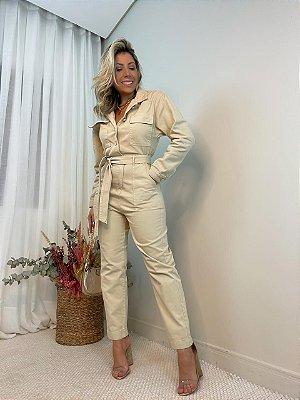 Macacão Jeans Isa Baldo Bege