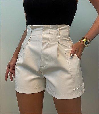 Shorts Couro Eco Off White