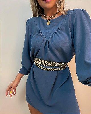 Vestido Punho Isa Baldo Azul