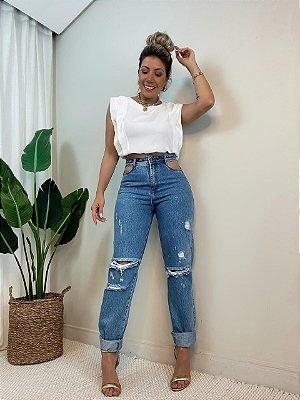 Calça Jeans Mom Recorte