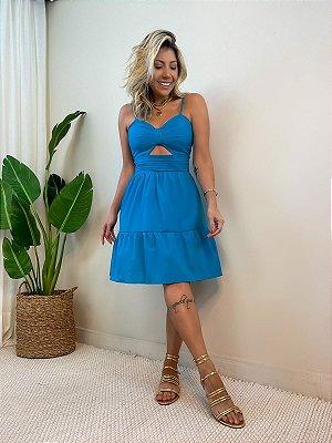 Vestido Curto Rodado Azul