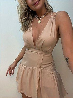 Vestido Decote Bege
