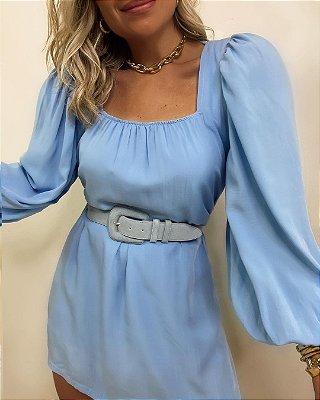 Vestido Curto Manga Princesa Azul