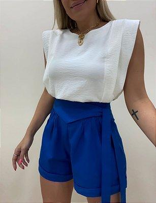 Shorts Linho Laço Azul