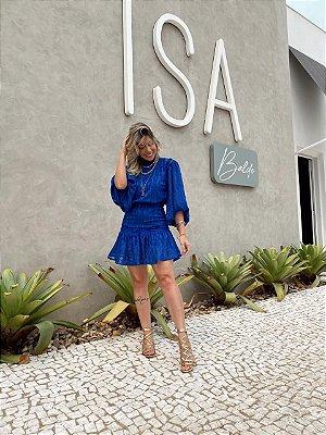 Vestido Curto Manga Bufante Isa Baldo Azul