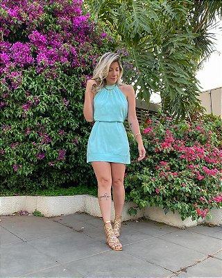 Vestido Curto Cava Entrada Isa Baldo Azul Piscina
