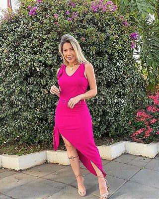 Vestido Midi Assimétrico Isa Baldo Rosa