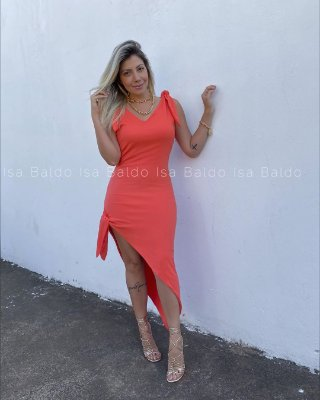 Vestido Midi Assimétrico Isa Baldo Coral