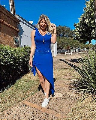 Vestido Midi Assimétrico Isa Baldo Azul