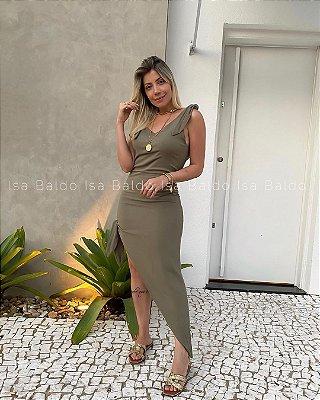 Vestido Midi Assimétrico Isa Baldo Verde