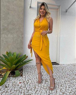 Vestido Midi Assimétrico Isa Baldo Mostarda