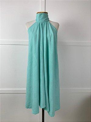 Vestido Lenço Curto Isa Baldo Azul Piscina