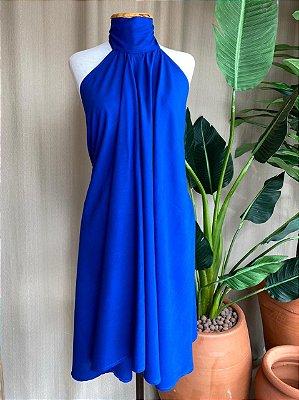 Vestido Lenço Curto Isa Baldo Azul Royal